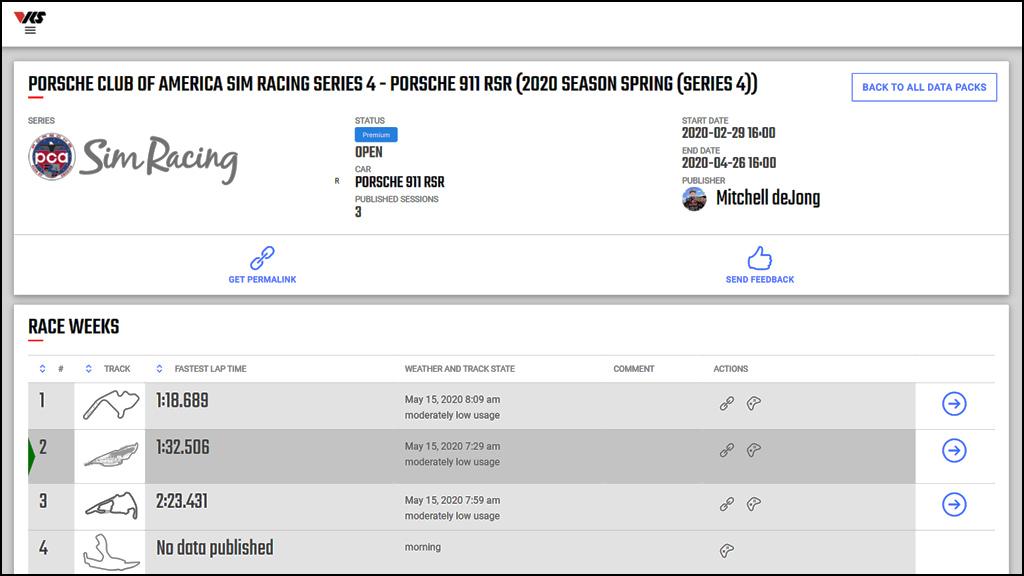 VRS Datapack for PCA Sim Racing