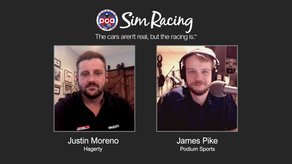 Our event started off with an interview hosted by our Podium eSports announcer James Pike with Justin Moreno, the Vice President of Marketing at Hagerty.